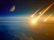 Apocalyptic background -  asteroid impact, end of world, judgmen. T day. Group of burning exploding asteroids approaches to surface of planet Earth. Elements of Stock Image
