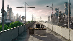 Apocalyptic concept background of futuristic and destroyed city. With sitting skeleton royalty free stock photo