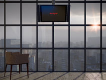Apocalyptic concept background. With window and monitor Royalty Free Stock Image