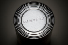 Apocalyptic December 2012 Concept. A 2012 End of the world concept image with the idea that non-perishable canned foods need to be stockpiled just in case of the Royalty Free Stock Image