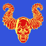 Apocalyptic demon skull with horns. Vector illustration. Blue background Stock Image