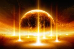 End of the world, exploding planet stock photo