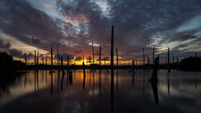 Apocalyptic dramatic clouds and sunset over lake, time-lapse stock video