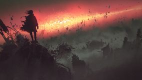 Apocalyptic explosion on the earth. End of the world concept of the man on ruined buildings looking at apocalyptic explosion on the earth, digital art style royalty free illustration