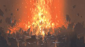 Apocalyptic explosion with many fragment of buildings. Scene of apocalyptic explosion with many fragment of buildings, digital art style, illustration painting Royalty Free Stock Photos