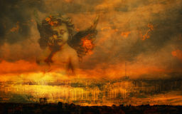 Apocalyptic fantasy. Dark grunge apocalyptic fantasy cityscape illustration with fire and sad angel against dramatic sky Royalty Free Stock Photography