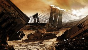 Apocalyptic Future. Manhattan and Brooklyn after a devastation caused by a war or an apocalyptic natural phenomenon stock illustration