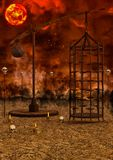 Apocalyptic landscape background. Apocalyptic landscape with a cage and bones Stock Image