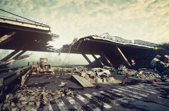 Apocalyptic landscape. Ruins of a city highway. Apocalyptic landscape.3d illustration concept stock illustration