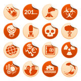 Apocalyptic and natural disasters stickers. Set of apocalyptic and natural disasters stickers Royalty Free Stock Images