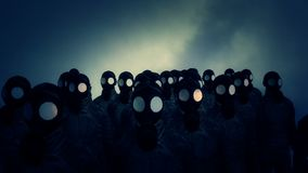 Chemical war ambiance and soldiers with gas masks