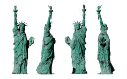 Apocalyptic old statue of liberty. 4 views. isolate on white background. 3d render Royalty Free Stock Image