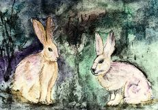 Apocalyptic rabbits on a bluish turquoise background. The Stock Photo