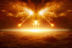 End of the world, battle of armageddon. Apocalyptic religious background - end of the world, battle of armageddon, forces of evil destroy humanity. Elements of Stock Photo