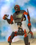 Apocalyptic robot cartoon on desert alone on blue desert. This apocalyptic robot will put some action at yours creations, 3d illustration stock illustration