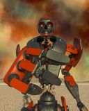 Apocalyptic robot cartoon on desert alone is trying to reach you. This apocalyptic robot will put some action at yours creations, 3d illustration royalty free illustration