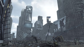 Apocalyptic ruined Time Square New York Manhattan. 3D rendering Stock Photo