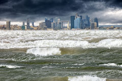 Apocalyptic scene tsunami. Tsunami disaster that struck in modern city stock photos