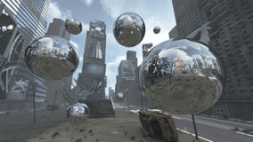 Apocalyptic silver spheres on Time Square New York Manhattan. 3D rendering. 3D rendering of a ruined road on Time Square New York Manhattan. The architecture and vector illustration