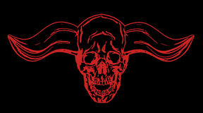 Apocalyptic skull with bullish horns. Vector illustration. Stock Photography