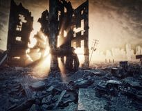 Apocalyptic sunset 3d. Apocalyptic sunset. Creative 3D illustration Royalty Free Stock Image