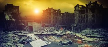 Apocalyptic sunset. 3d vector illustration