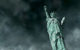 Apocalyptic view. Old Statue of liberty in Storm. 3d render Stock Images