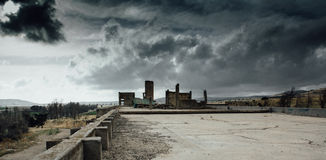Apocalyptic war landscape. The remains of destroyed building Stock Image