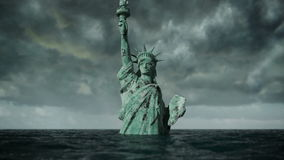 Apocalyptic water view. Old Statue of liberty in Storm. 3d animation