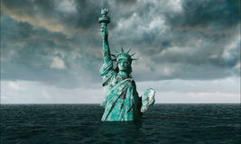 Apocalyptic water view. Old Statue of liberty in Storm. 3d render Royalty Free Stock Image