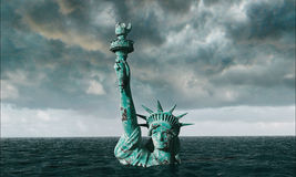 Free Apocalyptic Water View. Old Statue Of Liberty In Storm. 3d Render Stock Image - 72377481