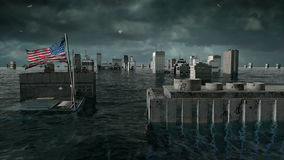 Apocalyptic water view. urban flood, America USA flag. Storm. 3d render.  stock video footage