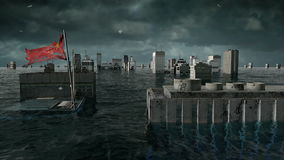 Apocalyptic water view. urban flood, China flag. Storm. 3d render.  stock video footage