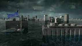 Apocalyptic water view. urban flood, Europe flag. Storm. 3d render.  stock video footage