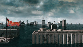 Apocalyptic water view. urban flood, Europe flag. Storm. 3d render Royalty Free Stock Photo