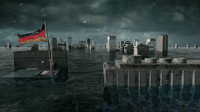 Apocalyptic water view. urban flood Germany flag. Storm. 3d render.  stock video footage