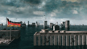 Apocalyptic water view. urban flood Germany flag. Storm. 3d render Stock Photo