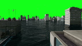 Apocalyptic water view. urban flood, green screen. 3d render stock video footage
