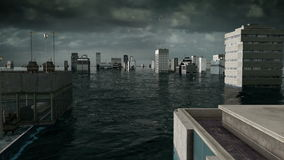 Apocalyptic water view. urban flood, Japan flag. Storm. 3d render.  stock video