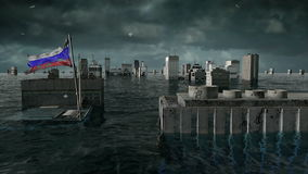 Apocalyptic water view. urban flood, Russian. Flag. Storm. 3d render stock video