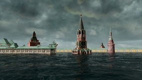 Apocalyptic water view. urban flood, Russian red square. Storm. 3d render.  stock footage