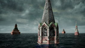 Apocalyptic water view. urban flood, Russian red square. Storm. 3d render.  stock video footage
