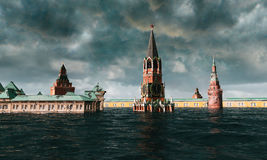 Apocalyptic water view. urban flood, Russian red square. Storm. 3d render.  stock photo