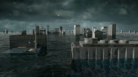 Apocalyptic water view. urban flood. Storm. 3d animation.  stock footage