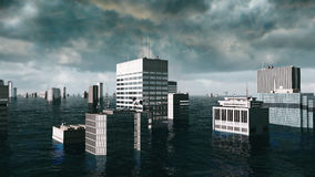 Apocalyptic water view. urban flood. Storm. 3d render Royalty Free Stock Images
