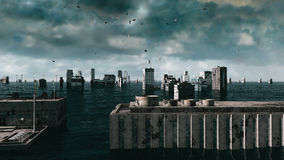 Apocalyptic water view. urban flood. Storm. 3d render Royalty Free Stock Photos