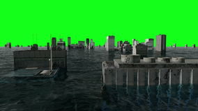 Apocalyptic water view. urban flood. Storm. Green screen footage.  stock video