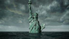 Apocalyptische watermening Oud Standbeeld van vrijheid in Onweer 3D animatie stock illustratie