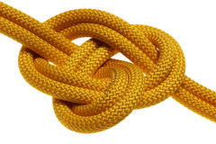 Apocryphal knot on double yellow rope Royalty Free Stock Photo