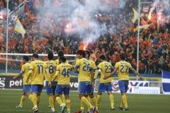 Apoel εναντίον του ποδοσφαίρου Omonoia Κύπρος Στοκ φωτογραφίες με δικαίωμα ελεύθερης χρήσης